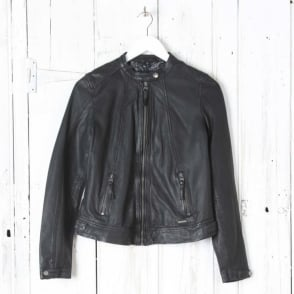 Jalena Leather Jacket in Black