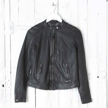 Jalena Leather Jacket in Black