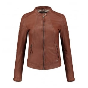 Jalena Leather Jacket in Cognac