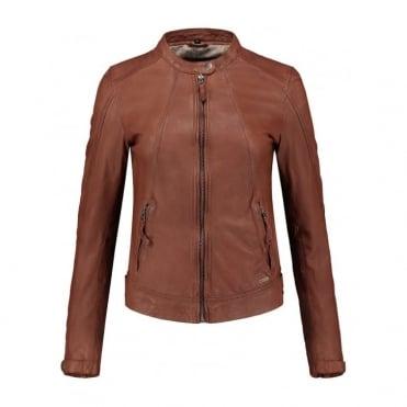 Jalena Leather Jacket in Cognac