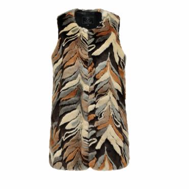 Lisia Faux Fur Gilet in Multi Colour