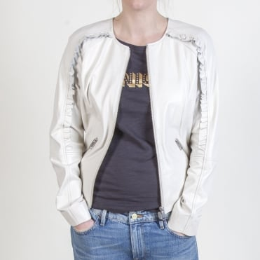 Soft Leather Ruffle Jacket in Off White