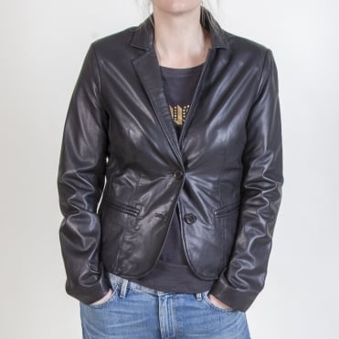 Soft Leather Two Button Jacket in Black