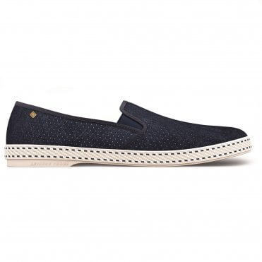 Sultan Perforated Suede Shoe in Marine