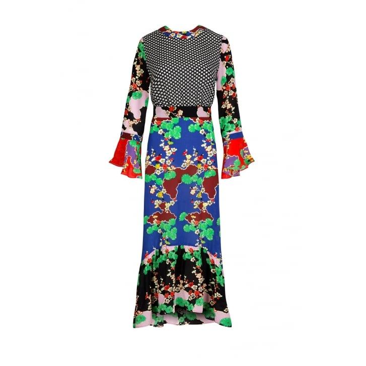 RIXO LONDON Chrissy Mixed Print Midi Dress in Cherry Blossom and Mini Star