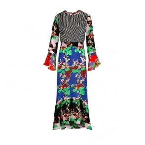 Chrissy Mixed Print Midi Dress in Cherry Blossom and Mini Star