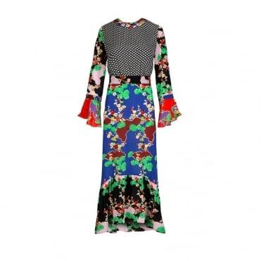Chrissy Mixed Print Midi Dress in Cherry Blossom and Mini Star