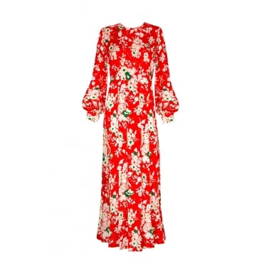 Emma 30s Bunch Floral Print Dress in Red
