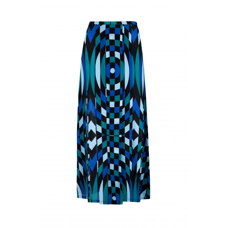 RIXO LONDON Georgia Bullseye Midi Skirt in Blue