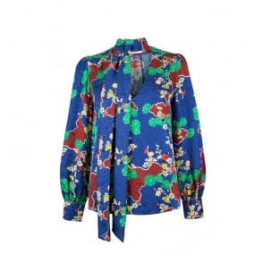 Ivy Necktie Blouse in Blue Cherry Blossom