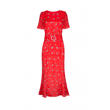 Joanne Red Ditsy Thorn Flared Short Sleeve Dress