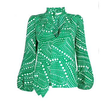 Kate Diagonal Psychedelic Spot Blouse in Green