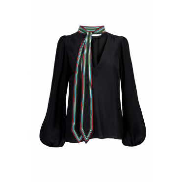 Kate Stripe Necktie Blouse in Black