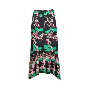 Leandra Midi Skirt in Black Cherry Blossom