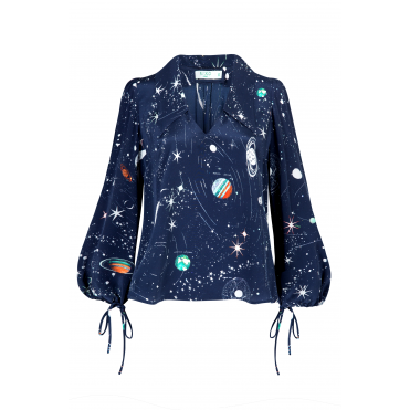 Lyla Cosmic Constellation Print Blouse in Navy