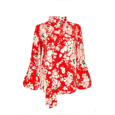 Moss Neck Tie Blouse in 30s Bunch Floral Red