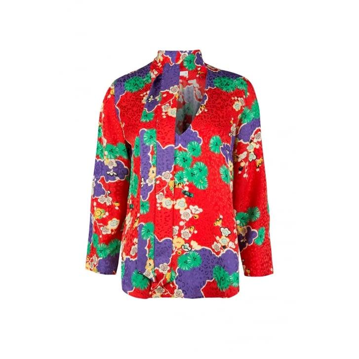 RIXO LONDON Sadie Necktie Blouse in Red Cherry Blossom