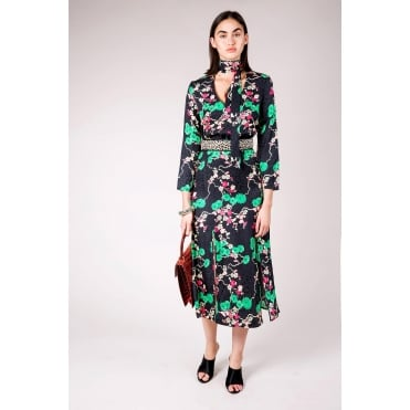 Stella Necktie Midi Dress in Black Cherry Blossom