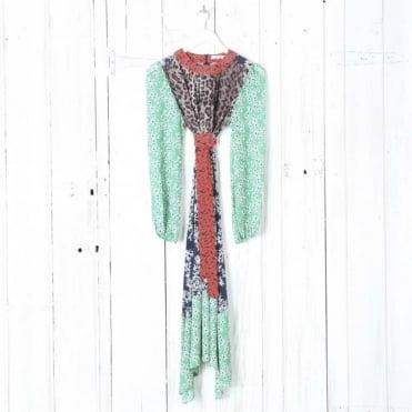 Penelope Mixed Print Midi Dress