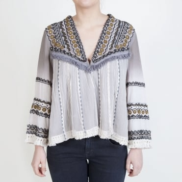Gazania Embellished Jacket in Grey