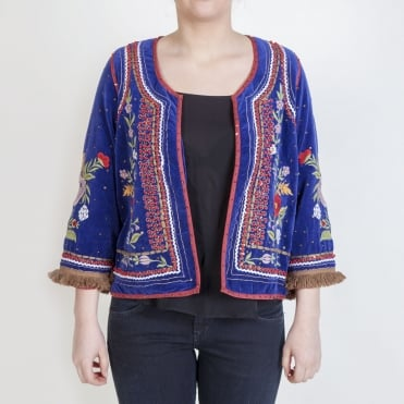 Matador Velvet Embroidered Jacket in Navy