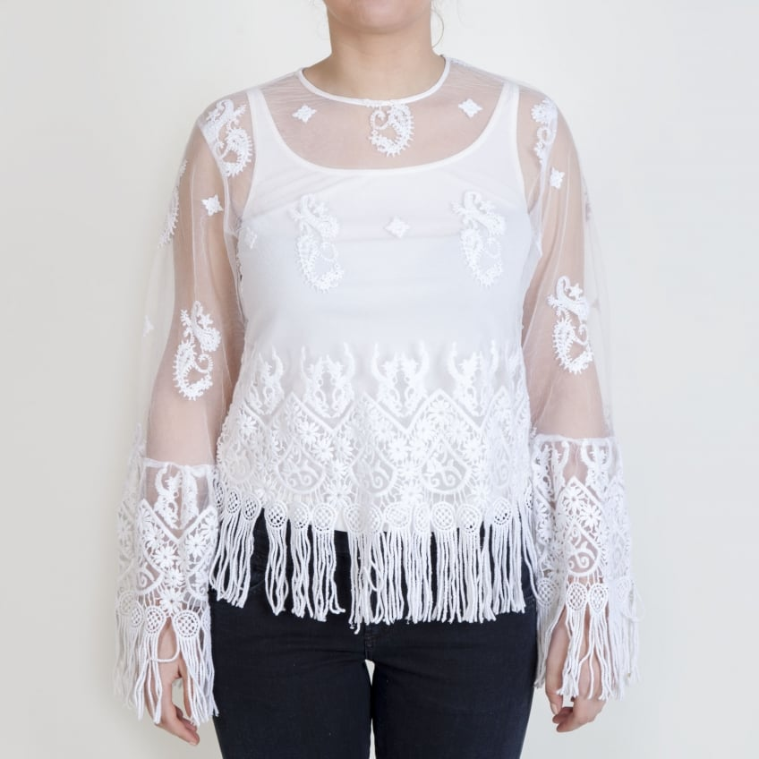 RUBY YAYA Valentina Sheer Long Sleeve Top in White