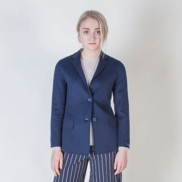 Argo Wool and Angora Jacket in Midnight Blue