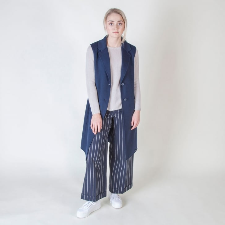S MAX MARA Canditi Wool and Angora Long Gilet in Midnight Blue
