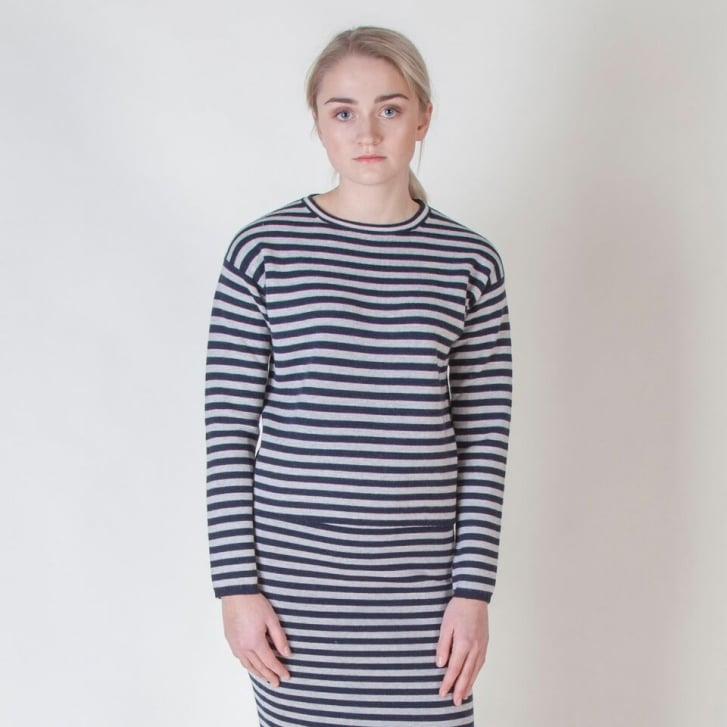 S MAX MARA Cashmere Mix Stripe Knit in Ultramarine
