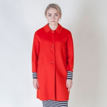 Este Wool and Angora Coat in Red