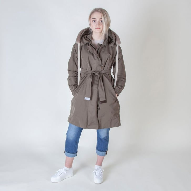 S MAX MARA Faillep Parka in Khaki with Beige Rabbit Collar