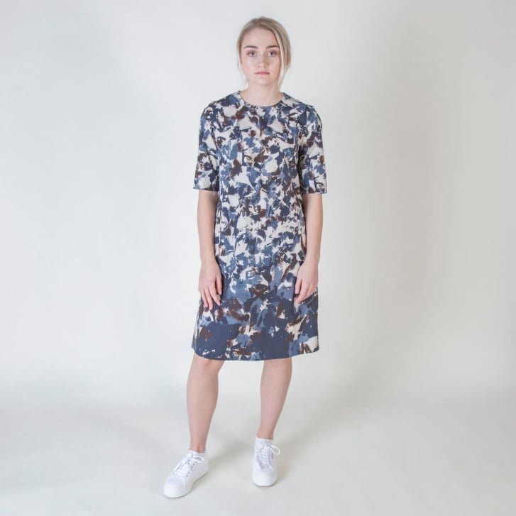 S MAX MARA Grado Printed Cotton Dress in Midnight Blue