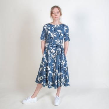 Latino Giant Lily Print Dress in Ultramarine