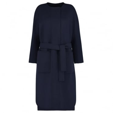 Luca Pure Wool Smart Coat in Midnight Blue