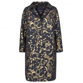 Moxa Floral Jacquard Dress Coat in Midnight Blue