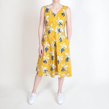Negozi Giant Lily Print Sundress in Yellow