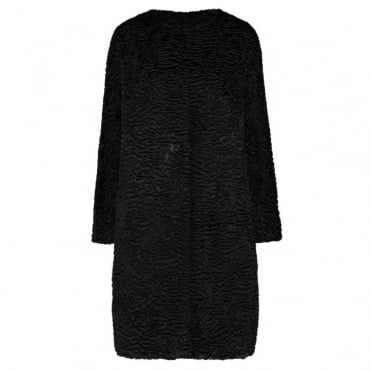 Tcape Astrakan Opera Coat in Black
