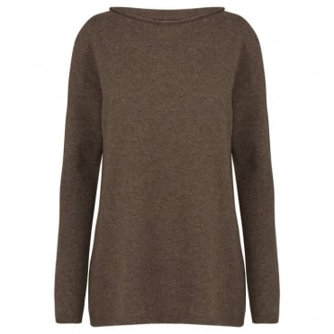 Ursola Pure Cashmere Sweater in Dark Brown