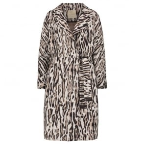 Vadare Animal Print Duster Coat in Ecru
