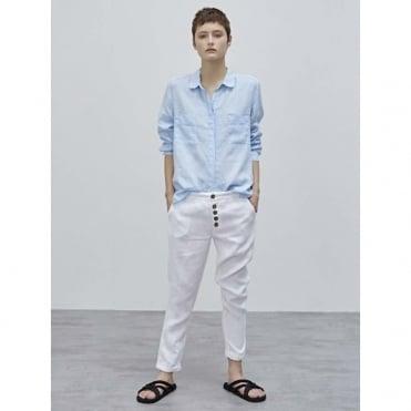 Button Detailing Linen Pant