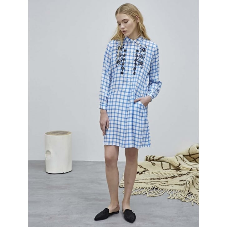 SACKS Embroidered Check Dress