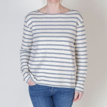 Damas Long Sleeve Multi Stripe Jersey in Whitecap Stripe