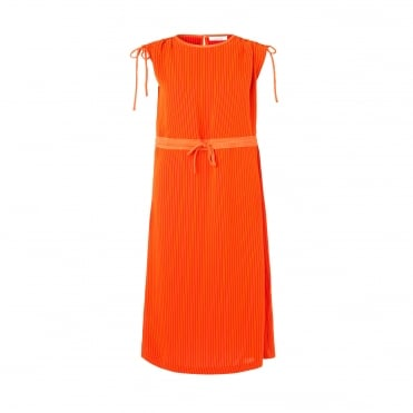 Ruba Stripe Rib Tube Midi Dress in Orange