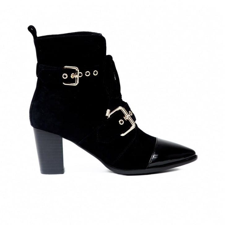 SARGOSSA Attitude Black Suede with Black Patent and Gold Pack