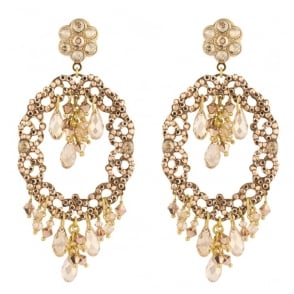 Chiara Light Pink and Gold Post Earrings