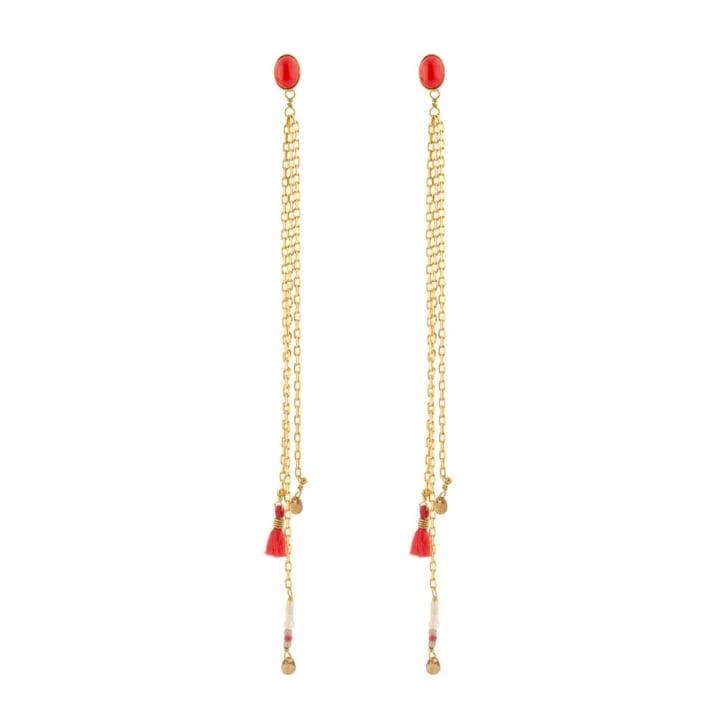 SATELLITE Red Kuzco Post Earrings in Gold