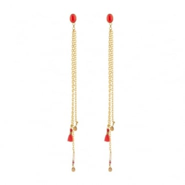Red Kuzco Post Earrings in Gold