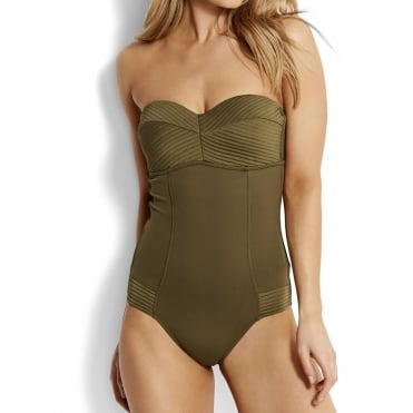 Quilted Bandeau Maillot in Dark Olive