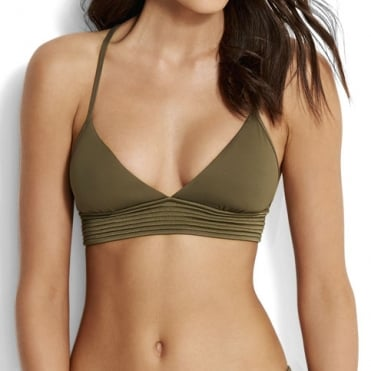 Quilted Fixed Tri Bikini Top in Dark Olive