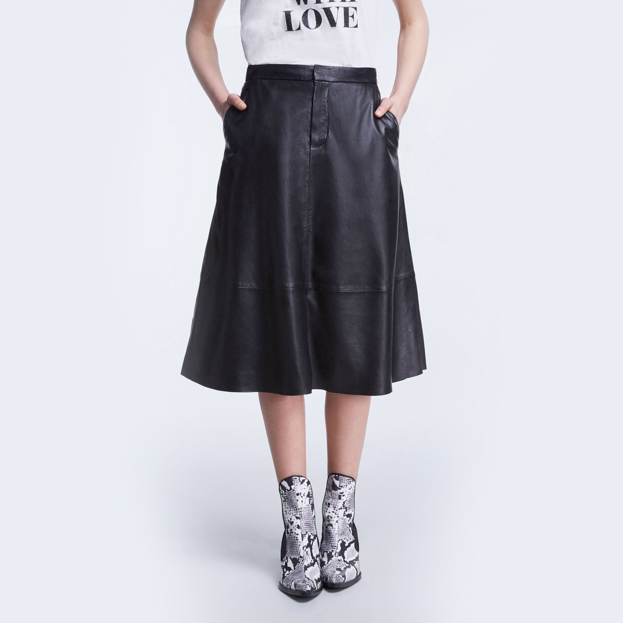 a21f7fbb5868 Leather A Line Skirt in Black | Collen & Clare